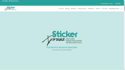 Voorbeeld van recent werk webdesign Sticker Xpress